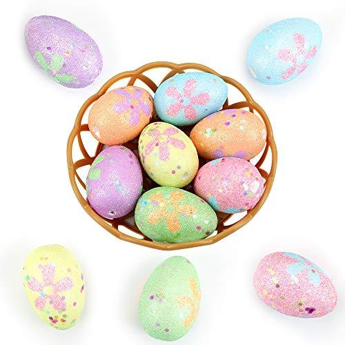 Wishstar Uovo di Pasqua, 12 Pezzi Uova di Pasqua con Due Cesti, Artigianato per Decorazione delle Uovo Pasqua, Addobbi Pasquali, Decorazione da Appendere, Uovo Decorato - 05K