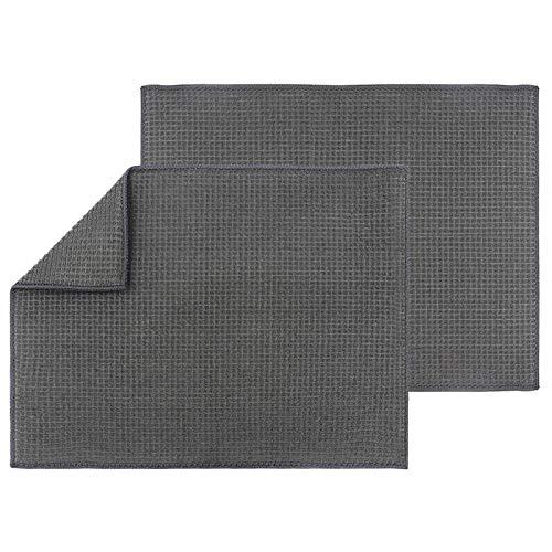 Topsky - Lot de 2 Tapis de séchage absorbants en Microfibre pour Plan de Travail de Cuisine - 50,8 x 38,1 cm - pour Verre, Tasse, Assiette, Vaisselle - Lavable en Machine - Gris