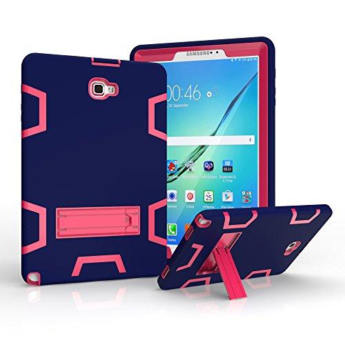 Bspring Case voor Samsung Galaxy Tab A 10.1 met S Pen - Robuuste en slagvaste hoes met standaard voor Samsung Galaxy Tab A Tablet 10.1 inch met S Pen SM-P580 P585 Navy Blue/Rose Red
