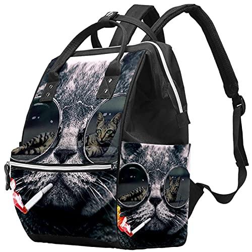WJJSXKA Mochilas Bolsa de pañales Mochila para portátil Mochila de viaje Senderismo Mochila para mujeres Hombres - Gato con gafas de sol de color humo