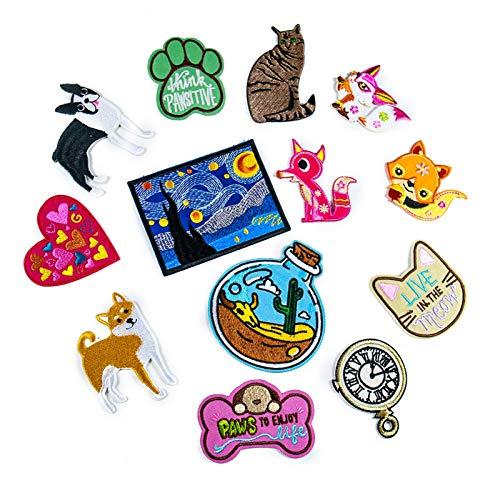 Patch Sticker,Parche termoadhesivo,Aplique de bordado adecuado para sombreros, chaquetas, abrigos, camisetas, gato y cachorro 14 piezas