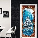 3D Door Sticker Door Stickers Sailing Hallway Porch Stickers 3D Simulation Decorative Wall Stickers 2 Pcs/Set