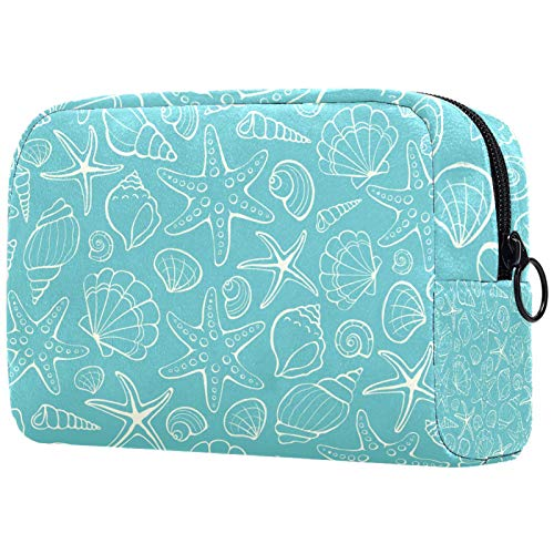 Personalised Makeup Brushes Bag Portable Toiletry Bags for Women Handbag Cosmetic Travel Organiser Hand Drawn Starfish Seashell Conch