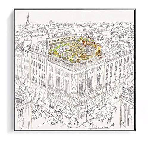 Qqwiter Giardini pensili di Parigi Schizzo Decorazioni per la casa Moderna Pittura su Tela Wall Art Chambre Decorativa per Soggiorno Camera da Letto Roon -50x50cm Senza Cornice