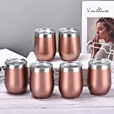 6 Pack 12Oz Stainless Steel Stemless Wine Tumbler Wine Glasses Set with Lid Set of 6 for Coffee Wine for Men Women or Family Party Use (Rose Gold)