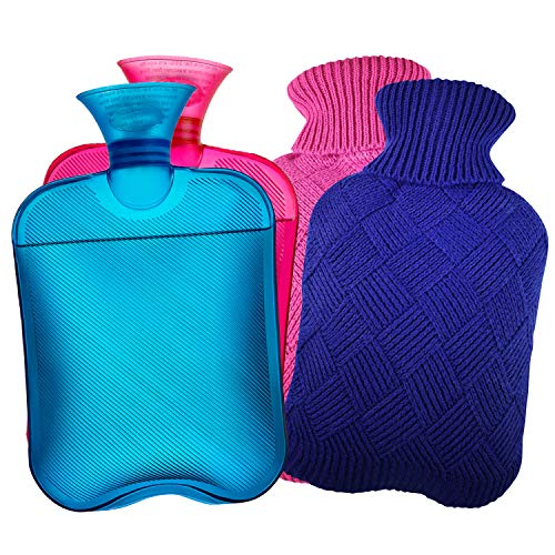 AZMED Hot Water Bottle with Cover, 2-Liter Natural Warm Compress and Heating...