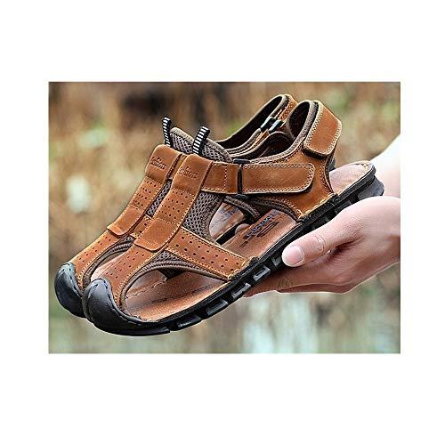 Zapatos Oxford de los Hombres Zapatos Formales Estilo Cuero de Gamuza Cuero Hueco Concha Transpirable con Punta anticolisión Sandalia de Verano (Color : Light Brown, tamaño : 44 EU)