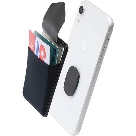 Sinjimoru 無線充電対応 手帳型カードケース専用マウントで固定するカードホルダー SUICA クレジットカード など3枚のカード収納できる着脱可能スマホカードケース、 iphone android対応 スマホ 背面 パスケース。Sinji Mount Flap, ブラック