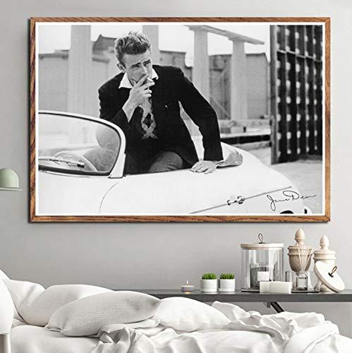 Cuadro En Lienzo,Póster E Impresiones De Cigarrillos De Humo De Jame Dean, Actor Estrella De Cine, Pintura Artística Vintage, Cuadros De Pared Para La Salón Dormitorio Deco ,50X70Cm Sin Marco ,Ph-46