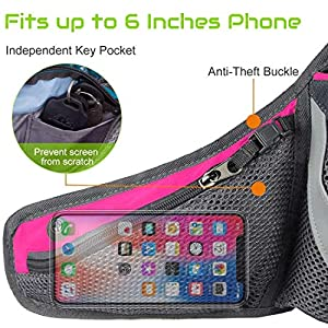 PYFK Running Belt Hydration Waist Pack with Water Bottle Holder for Men Women Waist Pouch Fanny Bag Reflective (Rose)