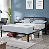 YAHEETECH Full Size Linen Upholstered Platform Metal Bed Frame with Button Tufted Headboard/Mattress Foundation/No Box Spring Needed/Under Bed Storage/Strong Slat Support
