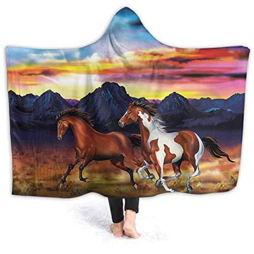 vsunburst Hooded Blanket for Adult Western Throw Poncho Wrap with Soft Sherpa Fleece Running Wild Horses Sunset Hooded Blanket for Men Women Teenagers Kids 60'x50'