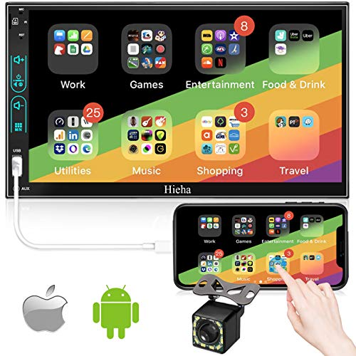 Double Din Car Stereo with Backup Camera, Hieha V2.0 LCD Touch Screen Radio for Car 7 inch Car Radio with Bluetooth, MP5 Player Support TF/USB/AUX, Phone Mirror Link