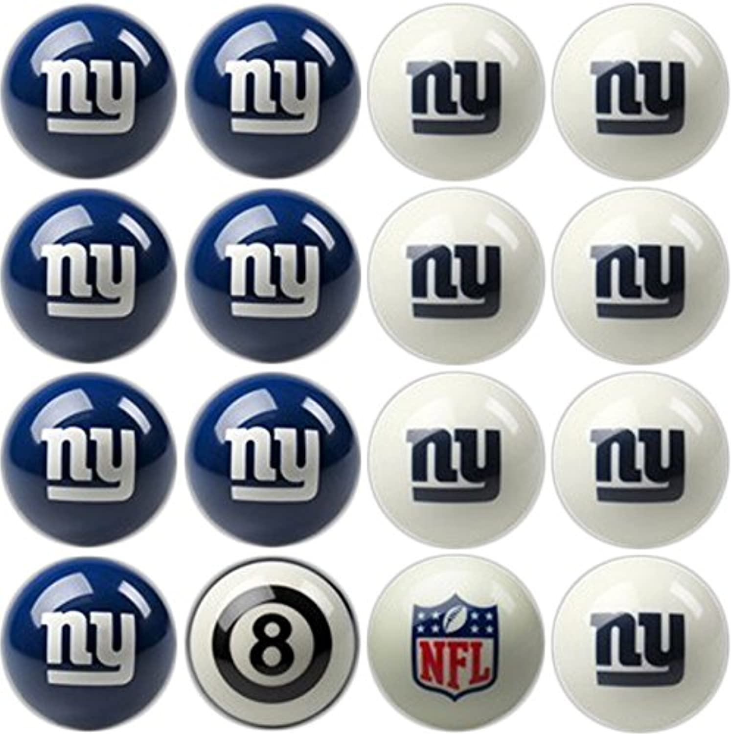 Imperial Officially Licensed NFL Merchandise  Home vs. Away Billiard Pool Balls, Complete 16 Ball Set, New York Giants