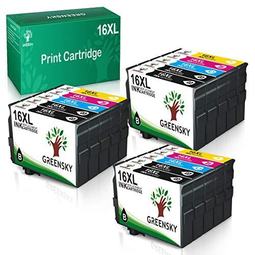GREENSKY 16XL Druckerpatronen Multipack Kompatible für Epson 16XL 16 XL für Epson Workforce WF2630 WF2510 WF2750 WF2760 WF2650 WF2660 WF2520 WF2530 WF2540 WF2010 (6 Schwarz, 3 Cyan, 3Magenta, 3 Gelb)