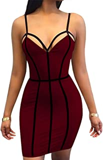 TOB Women's Sexy Bodycon Spaghetti Strap Sleeveless Patchwork Mini Club Dress