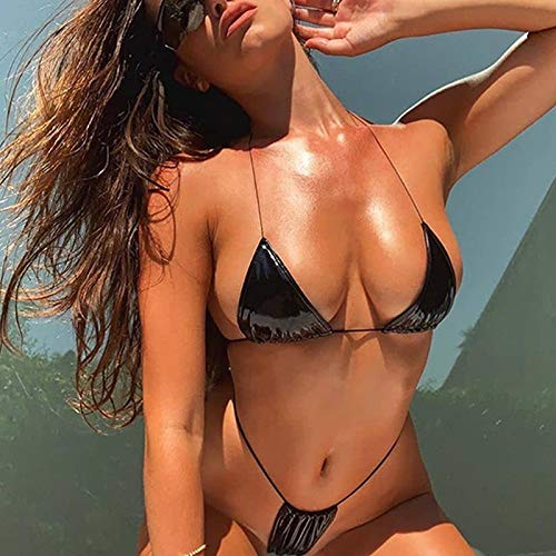 LLCUTE Frauen Bikini Sets, Schwarz Wetlook Spitze Tanga Dreieck Push Up Bikini Badeanzug Sexy Damen Badeanzug Bademode Für Den Strand Baden Pool Party, M