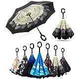 Parapluie Inversé, Anti-UV Double Couche Coupe-Vent Parapluie Mains Libres poignée en forme C Parapluie