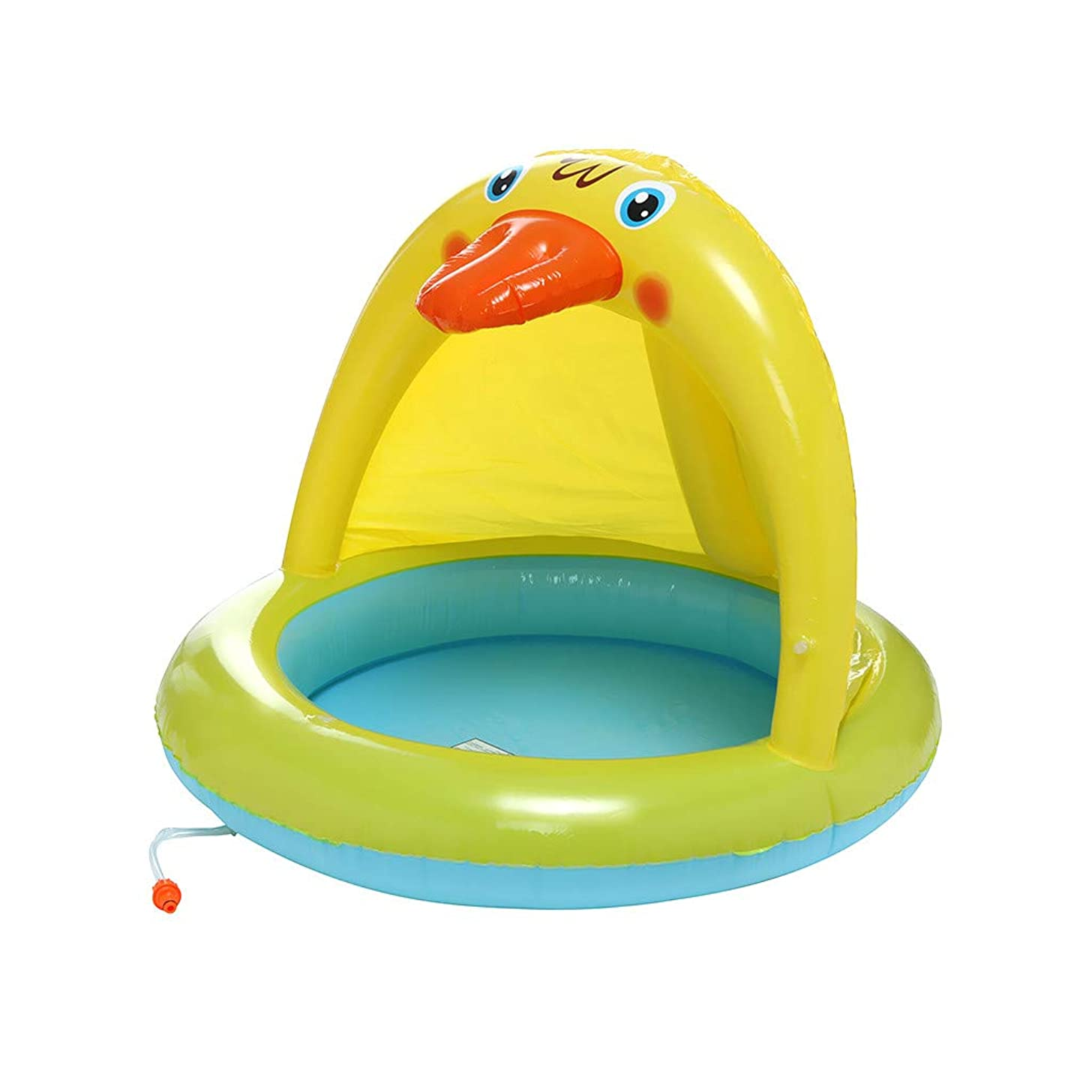 Jiayit US Fast Shipment Child Spray Ring Baby Pool, Duckling Splash Pool with Canopy, Spray Pool of 40In, Water Sprinkler Yellow