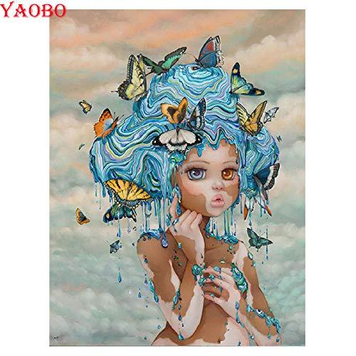 DIOPN DIOPN 5D-diamant schilderij vlinder fee kruissteek diamant borduurwerk diamant mozaïek meisjes doos animato rond 40 x 50 cm