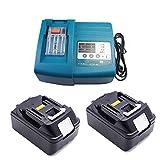 Cargador de repuesto con 2 baterías de 18 V y 3,0 Ah para cortasetos Makita DUH523Z, DUH651Z, DUH551Z, BUH523Z, DUH523RF, celdas LG LG