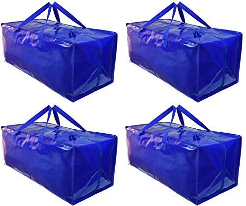 BY BE YOURS Pack de 4 Bolsas Mudanza y Almacenaje - Impermeables, Extra Grandes y Muy Resistentes - Correas para Mochila, Fuertes Asas y Cremalleras