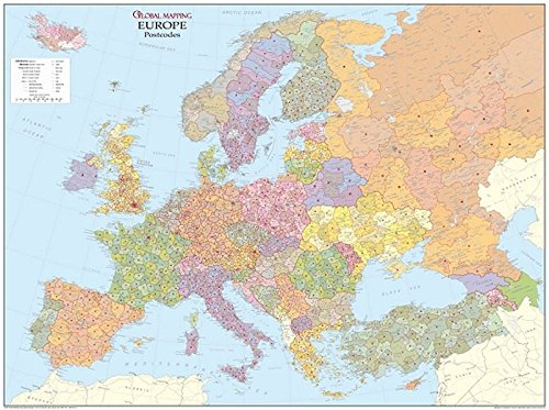 Postleitzahlkarte Europa: Mit Oberflächenlaminat