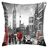 Throw Pillow Cover Case London City Landscape Funda de Almohada Decorativa 45cmx45cm Funda de cojín para sofá de Cama