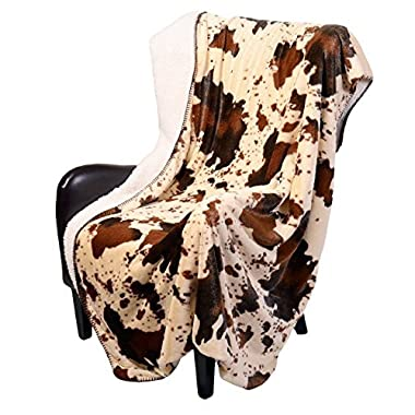 Regal Comfort Sherpa Luxury Throw Western Style Cow Print, Rodeo
