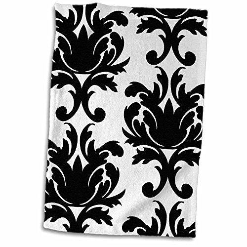 3D Rose Large Elegant Black and White Damask Pattern Design Hand/Sports Towel, 15 x 22