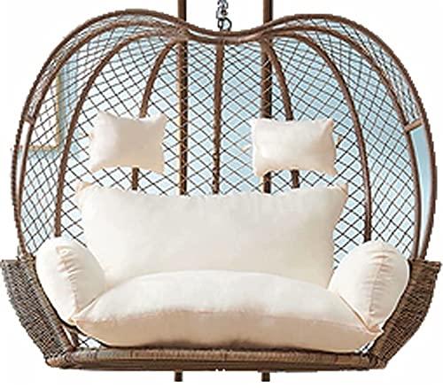 Impermeabile Hammock Hammock Swing Chair Cushion, Addensare Sedia appesa Cuscino Doppio uovo rimovibile Nido di uovo Cuscini a forma di nido, 2 Persone Seater Wicker Rattan Swing Pad per giardino del