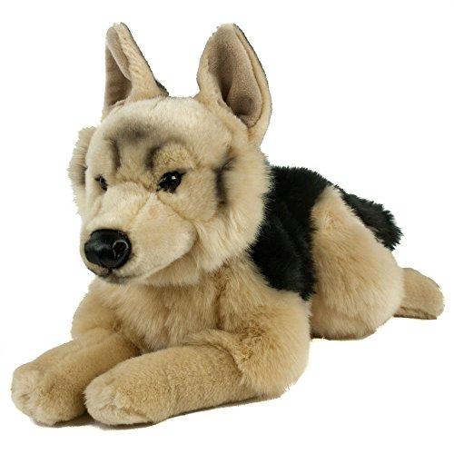 Teddys Rothenburg Kuscheltier Schäferhund 45 cm liegend braun/schwarz Plüschhund Plüschschäferhund
