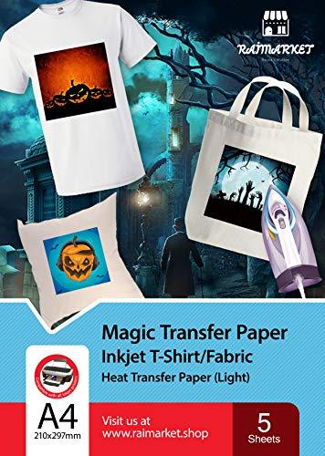 Ferro su carta per stoffa leggero (termoadesiva Paper) di Raimarket - 5 fogli A4 - Un ferro da stiro a getto d'inchiostro su carta / maglietta Trasferisce la stampa di tessuti fai da te