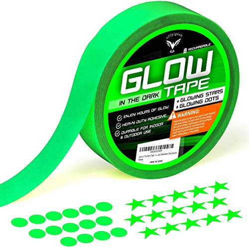 Glow in The Dark Tape - Ultra Luminous Tape - Premium Pack of UV Glow Tape - 15 Fluorescent Stars 15 Dots Stickers - Home Decor Wall Ceiling Stairs Stage Party Halloween Decorations