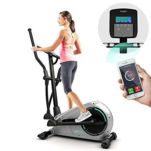 Bluefin Fitness CURV 2.0 Elliptical Cross Trainer | Home Gym | Exercise Step Machine | Air Walker | Compact | LCD Digital Fitness Console | Bluetooth | Smartphone App | Black & Grey Silver