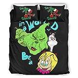 CATNEZA Colcha Quilt Juego de ropa de cama en un mundo de Grinch- Ligero - Navidad - Juego de 3 piezas de ropa de cama para Home Lodge White 168 x 229 cm