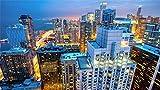 PANDABOOM Puzzle para Adultos 1500 Piezas, Los Rascacielos De Chicago Ven La Ciudad De Noche, Regalo De Cumpleaños Único