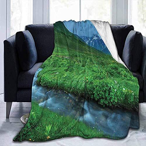 Couverture Nature, River Mountain Summertime, pour Enfants Adultes bébé bébé Chien Chien