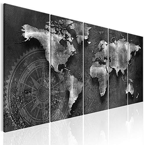 decomonkey Bilder Weltkarte 200x80 cm 5 Teilig Leinwandbilder Bild auf Leinwand Wandbild Kunstdruck Wanddeko Wand Wohnzimmer Wanddekoration Deko Welt Karte Kontinente Landkarte