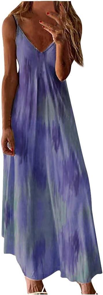 Womens Summer Dresses,Women Summer Casual Sleeveless Maxi Dresses V-Neck Gradient Color Loose Long Dress Sundress