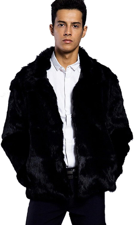 Mens Trench Coat,Mens Warm Faux Fur Jacket Parka Coat Short Outwear Overcoat,Black Windbreaker