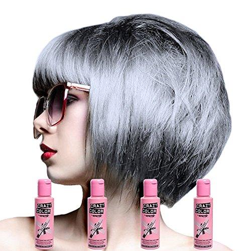 Crazy Color Hair Dye Teinture capillaire semi-permanente pour femme Paquet de 4 Argent
