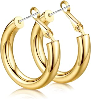 EARLLER Thick Chunky Open Hoops Earrings, 14K Gold Plated Gold Hoop Earrings, Lightweight Tube Hoop for Women And Girls - 925 Sterling Silver Post (Gold Hoops Earrings)