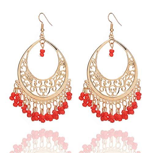 YAZILIND Bohemian Vintage Perlen Quasten baumeln Ohrring filigrane hohle Anhänger Ohrringe Schmuck rot