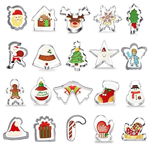 Ausstechformen Weihnachten Set,20 Stück Keksausstecher Weihnachten,Plätzchenausstecher Plätzchenförmchen Keksformen,Ausstechformen Fondant Keksausstecher aus Edelstahl für Weihnachten Kekse Backen