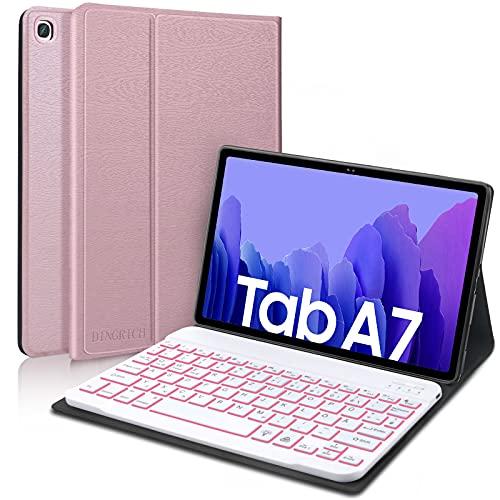 D DINGRICH Tastatur Hülle für Samsung Galaxy Tab A7 10.4 Zoll, Bluetooth Beleuchtete Kabellose QWERTZ Tastatur mit Schützhülle für Samsung Tablet A7 T500/T505/T507, Roségold