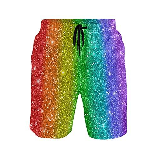 TropicalLife Gay Lesbiana LGBT Verano Beach Shorts, Estrellas Rainbow Pride, multicolor, S