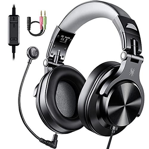 OneOdio A71D Casque d'écoute avec micro - Casque de jeu filaire avec volume en ligne et microphone amovible pour la maison