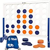 Rally and Roar Giant 4 in A Row, 4 to Score - Premium Wooden Four Connect Game Set in 4' White Wood - Oversized Family Outdoor Party Games for Backyard, Lawn, Parties, Bar Game