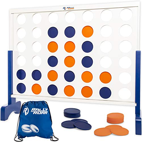 Rally and Roar Giant 4 in A Row, 4 to Score – Premium Wooden Four Connect Game Set in 4′ White Wood – Oversized Family Outdoor Party Games for Backyard, Lawn, Parties, Bar Game